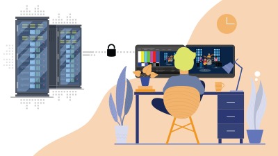 Illustration of someone working remotely on a broadcast production