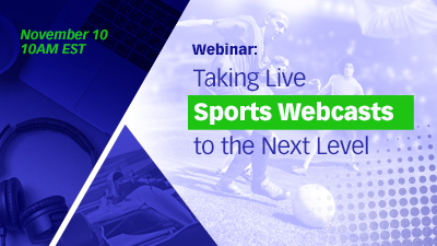 Webinar banner with a sports background