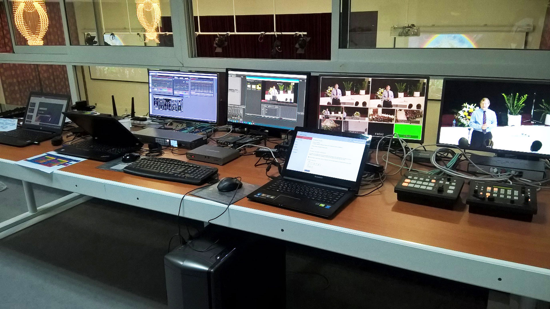 AV setup with the Matrox Monarch HDX H.264 streaming and recording appliance for the Seventh-Day Adventist Church's annual Campmeeting event.