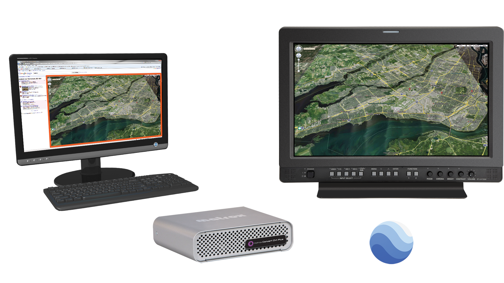 Convert DVI with Google Earth on PC monitor and tv