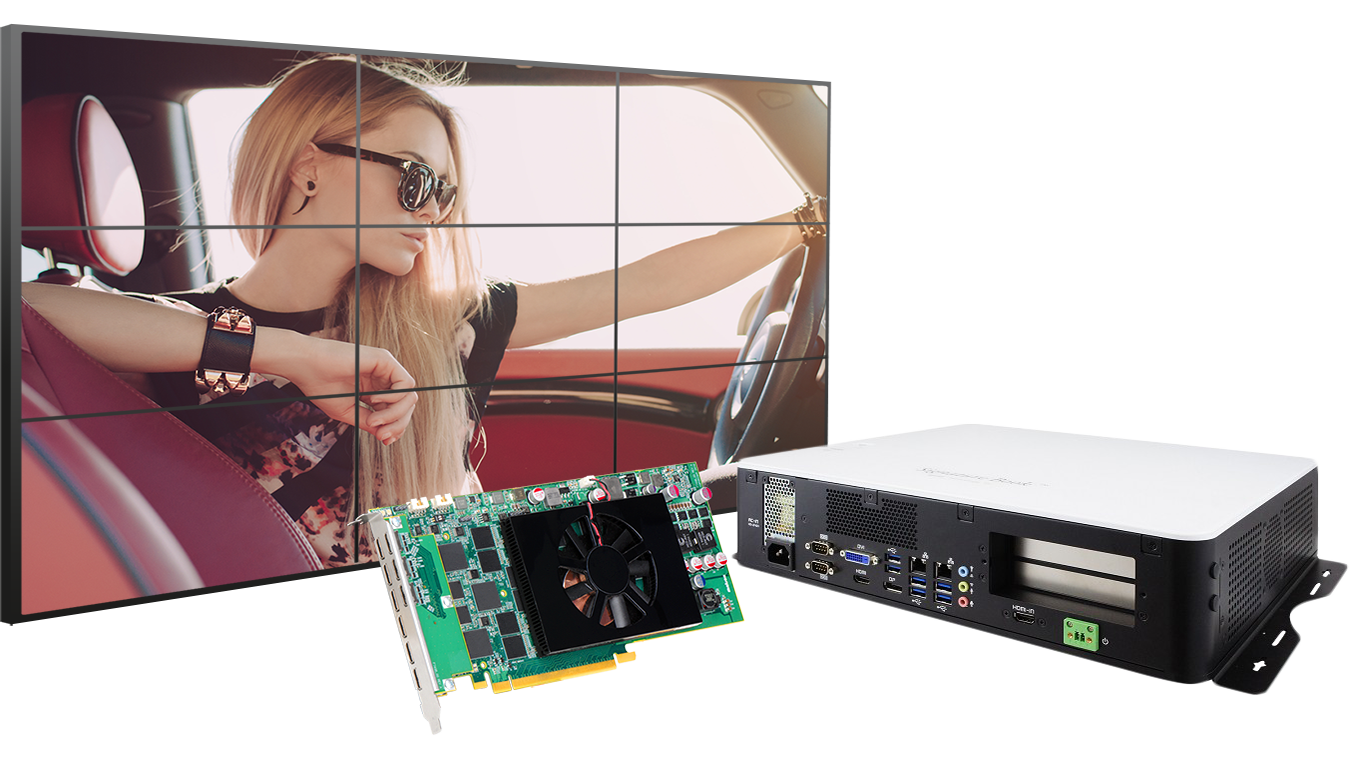 Matrox-powered IBASE SI-61S player PC drives 3x3 video wall.