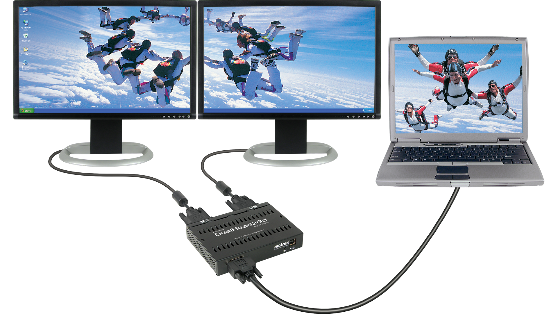 Add Up To Two Monitors Your Notebook Or Desktop Computer With Matrox Dualhead2go Digital Edition