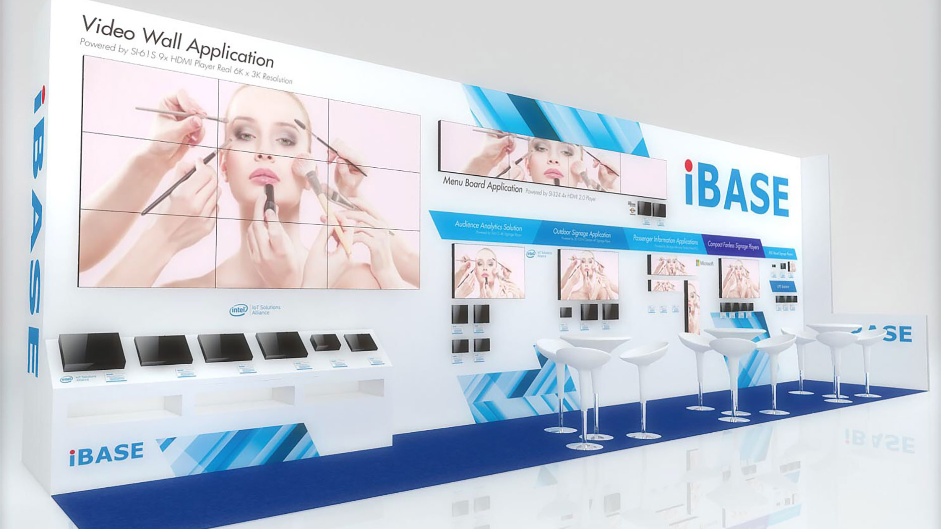 Matrox-powered IBASE SI-61S player PC to drive 3x3, 18.7 MP video wall for digital signage applications at DSE 2018.