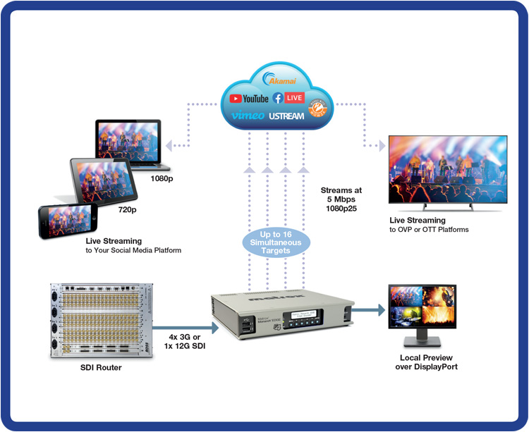 A diagram of how Monarch EDGE allows users to stream multiple Online video platforms