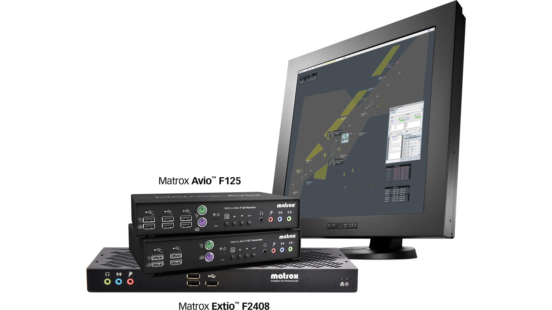 Matrox Avio and Extio KVM extenders are compatible with EIZO Raptor SQ2804 2Kx2K primary control monitor for air traffic control.