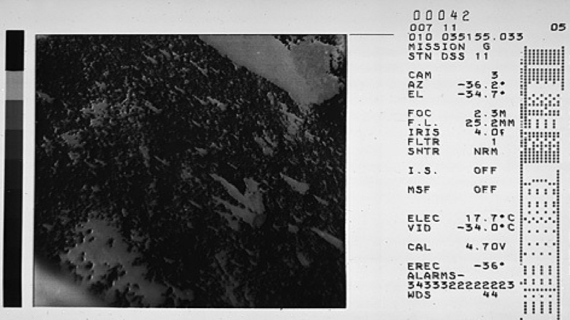 Example of a Surveyor mission film image captured by a 70 mm film camera and photographed onto special recording film