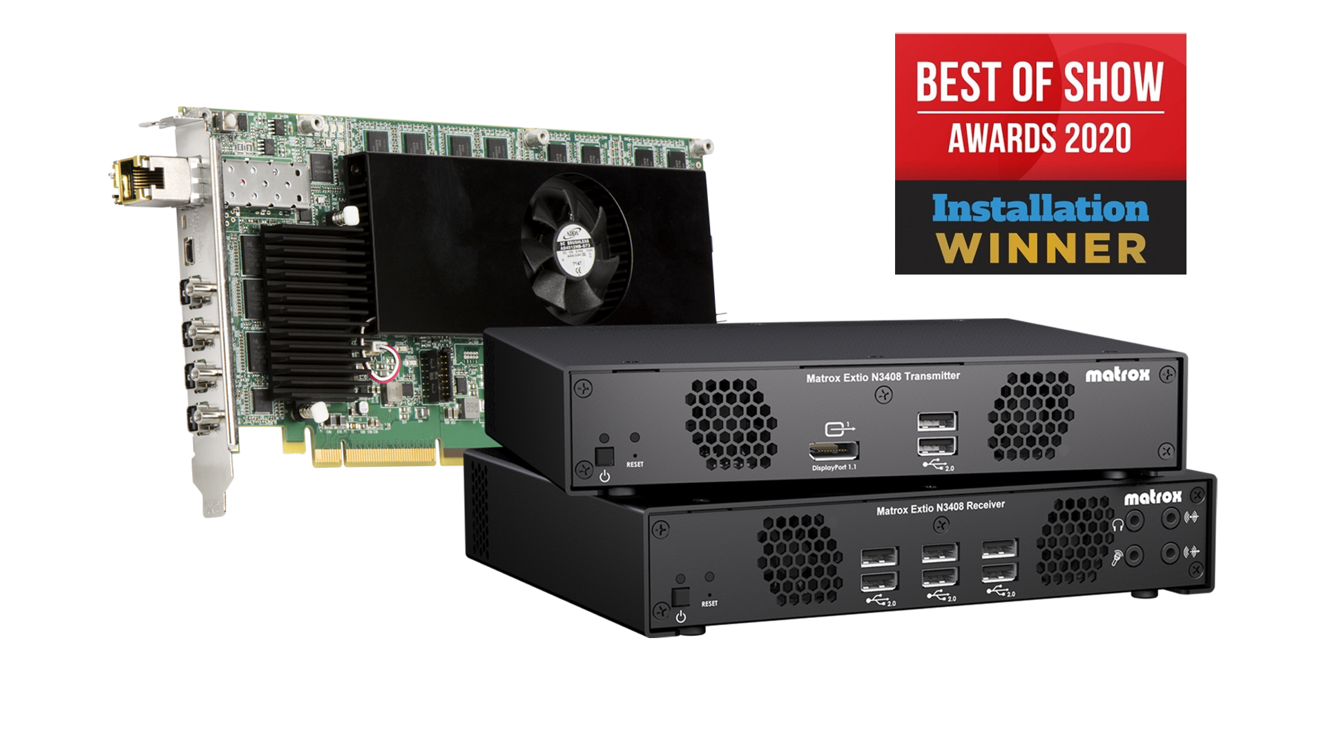 Matrox Extio 3 IP KVM extenders collect Best of Show Award at ISE 2020.