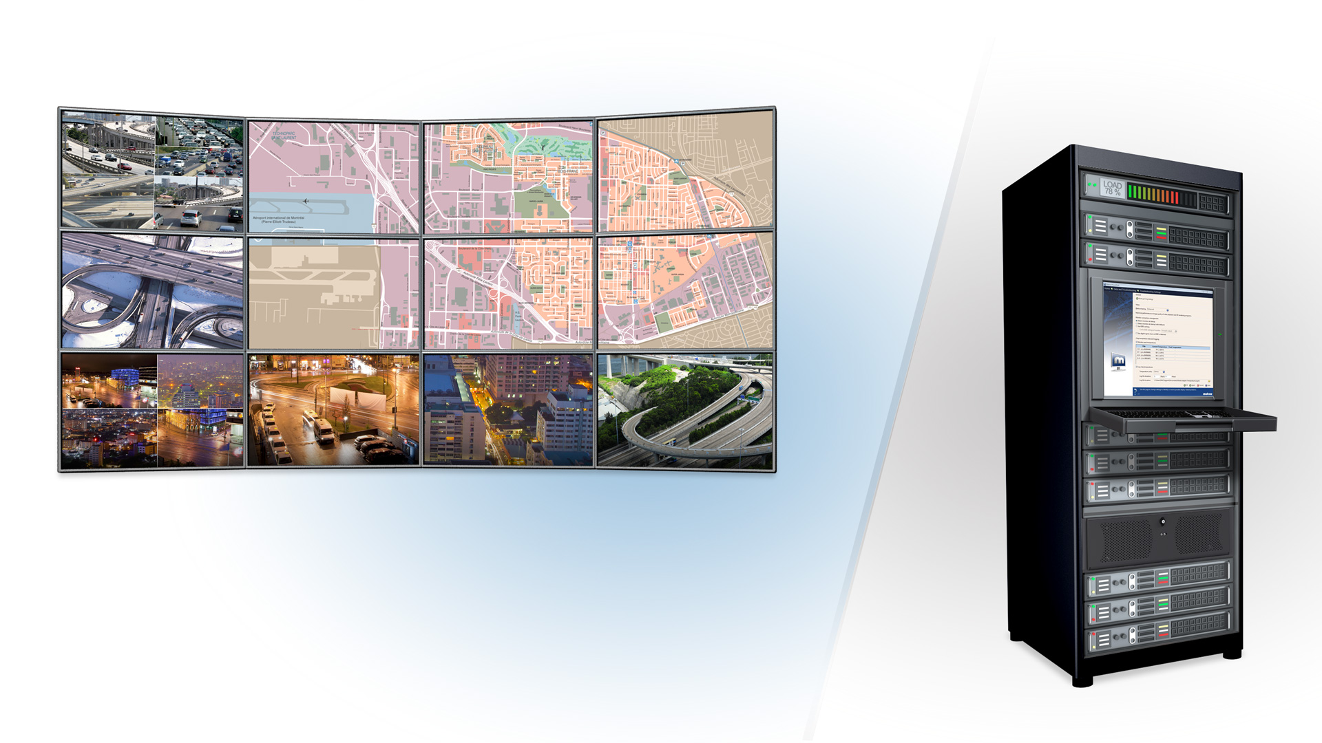 Matrox P690 graphics cards used alongside Mura™ MPX-based video wall controllers to power up to four independent console displays.