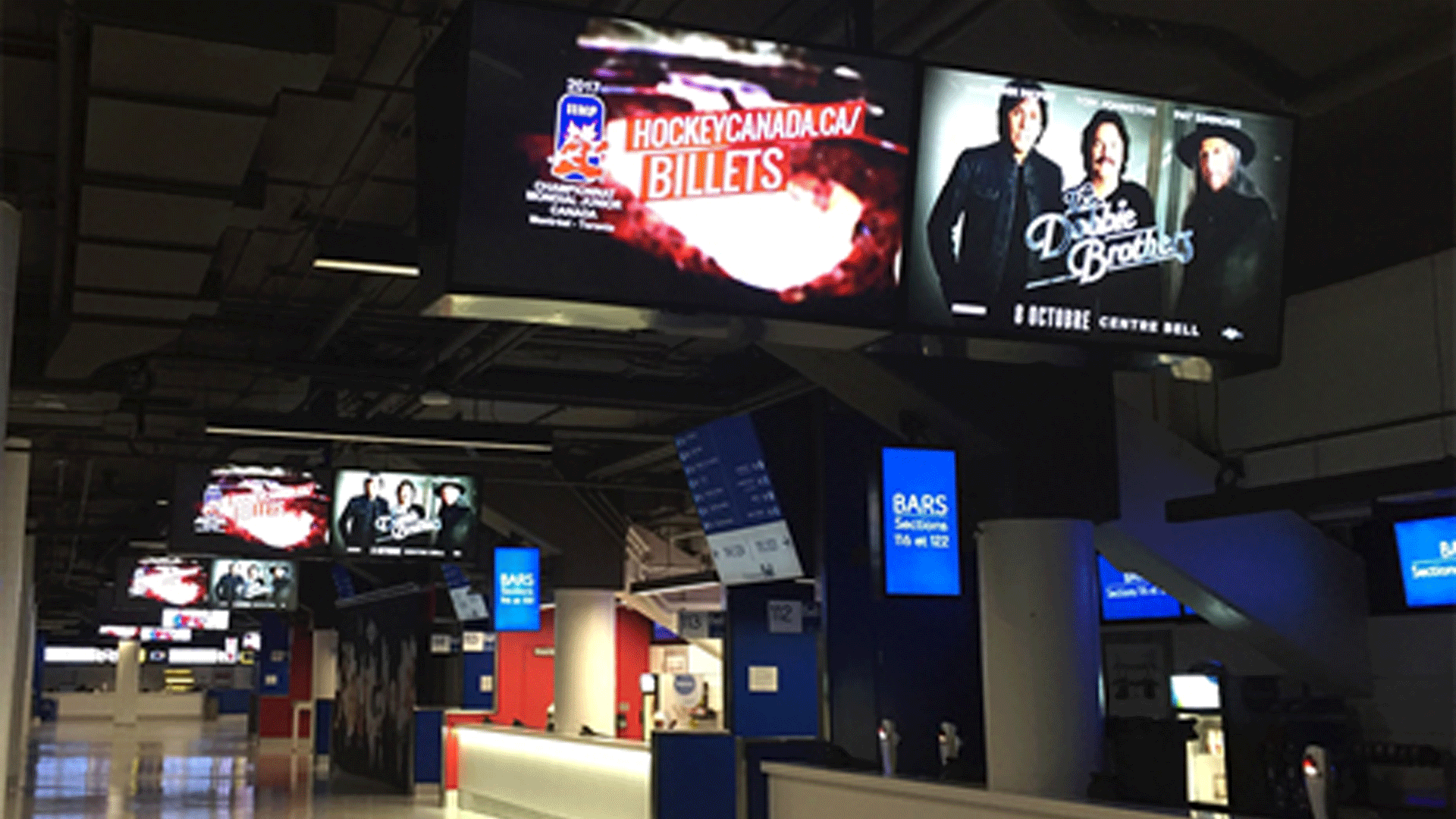 Each Quadrant on the Main and Club Level of the Bell Centre Concourse Features Five Digital Signage Displays