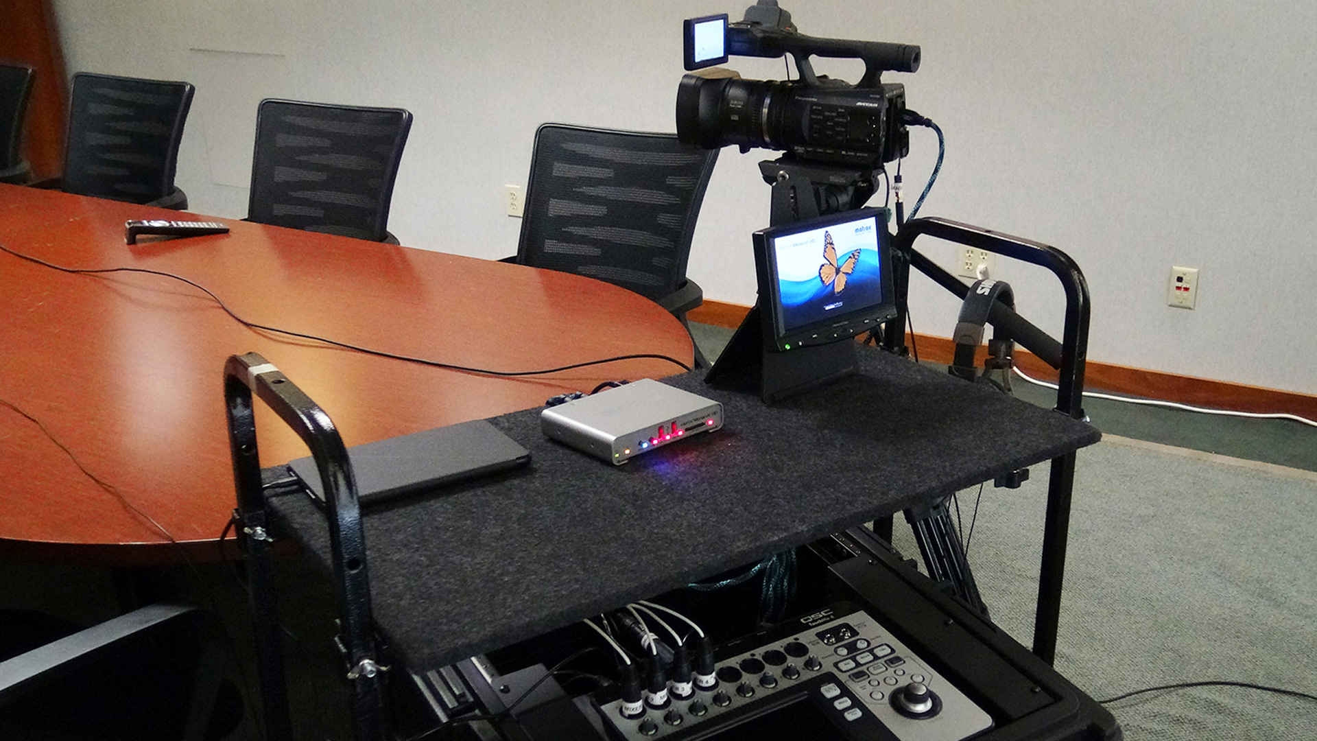 The Matrox Monarch HD streaming and recording appliance is a key component of the video installation at Huney-Vaughn Court Reporters.