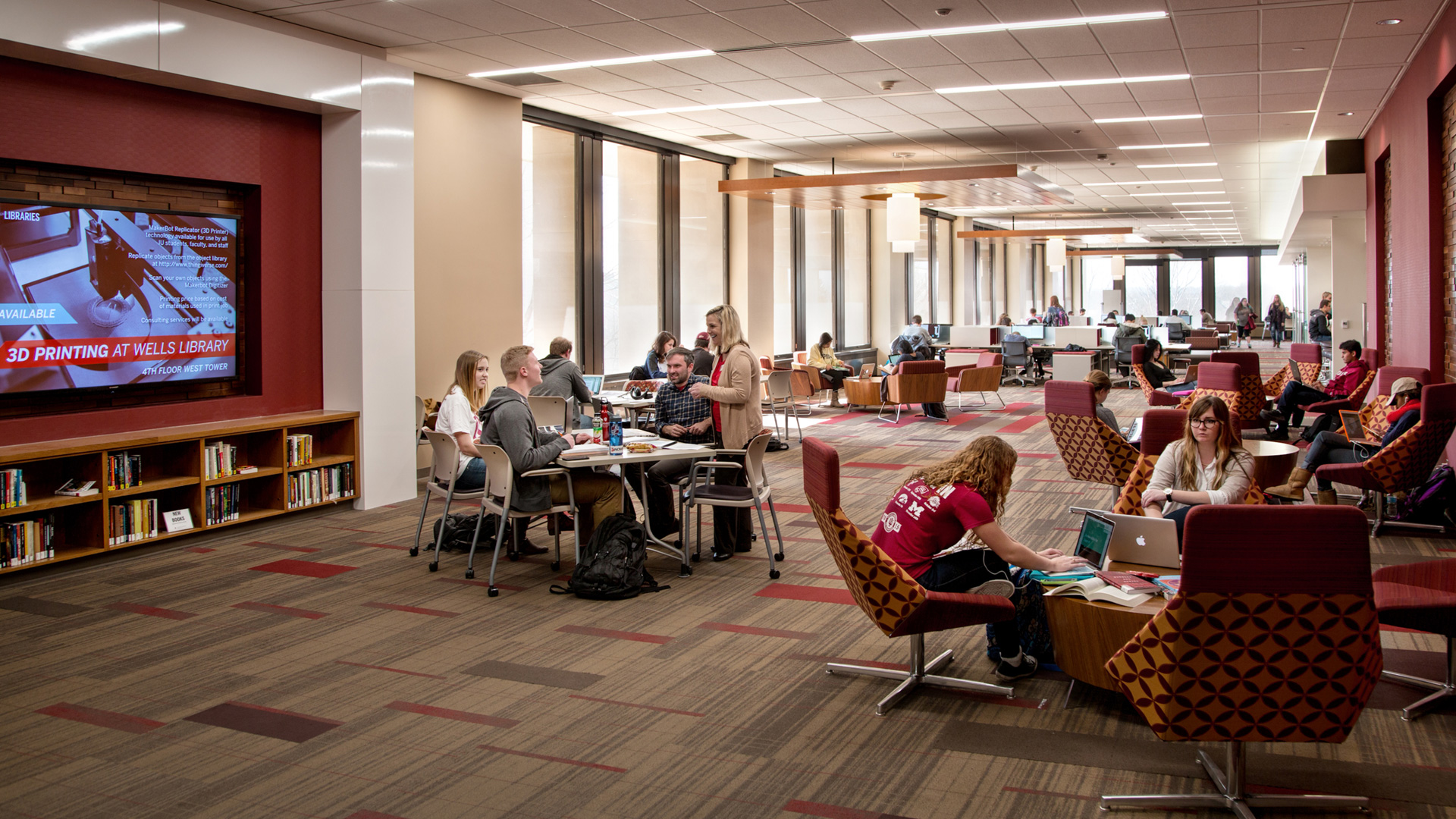 Indiana University library – a favorite spot for students viewing on-demand videos of lectures.