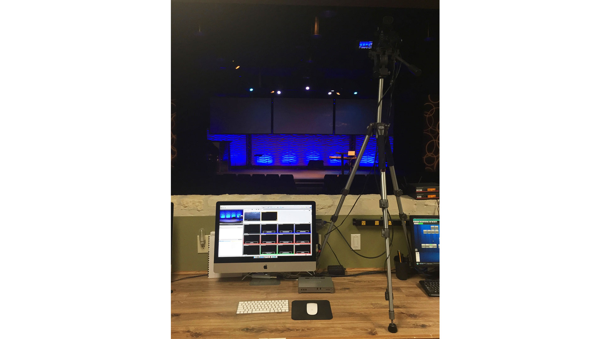 Video management system at Lifehouse Church with the Matrox Monarch HDX streaming and recording appliance connected to an iMac with presentation software.