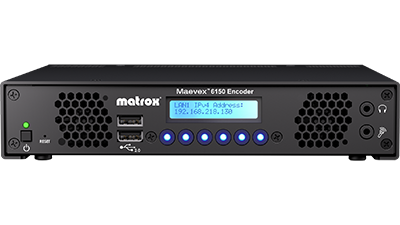 LED Screen and Buttons of Matrox Maevex 6150 Quad 4K Enterprise Encoder Appliance