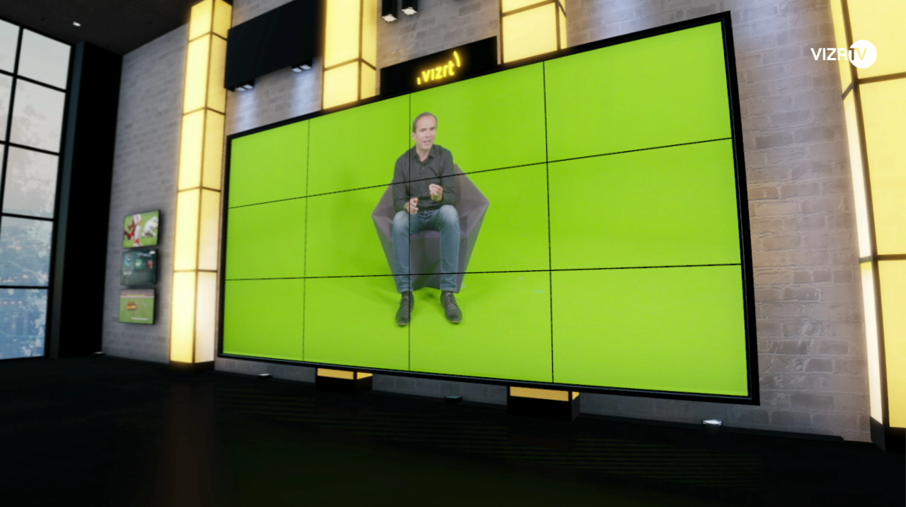 Green Room interview on a 3x4 videowall
