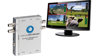 Matrox Microquad Multiviewer lets you monitor up to four 3G-SDI inputs or four HD-SDI inputs or four SD-SDI inputs.