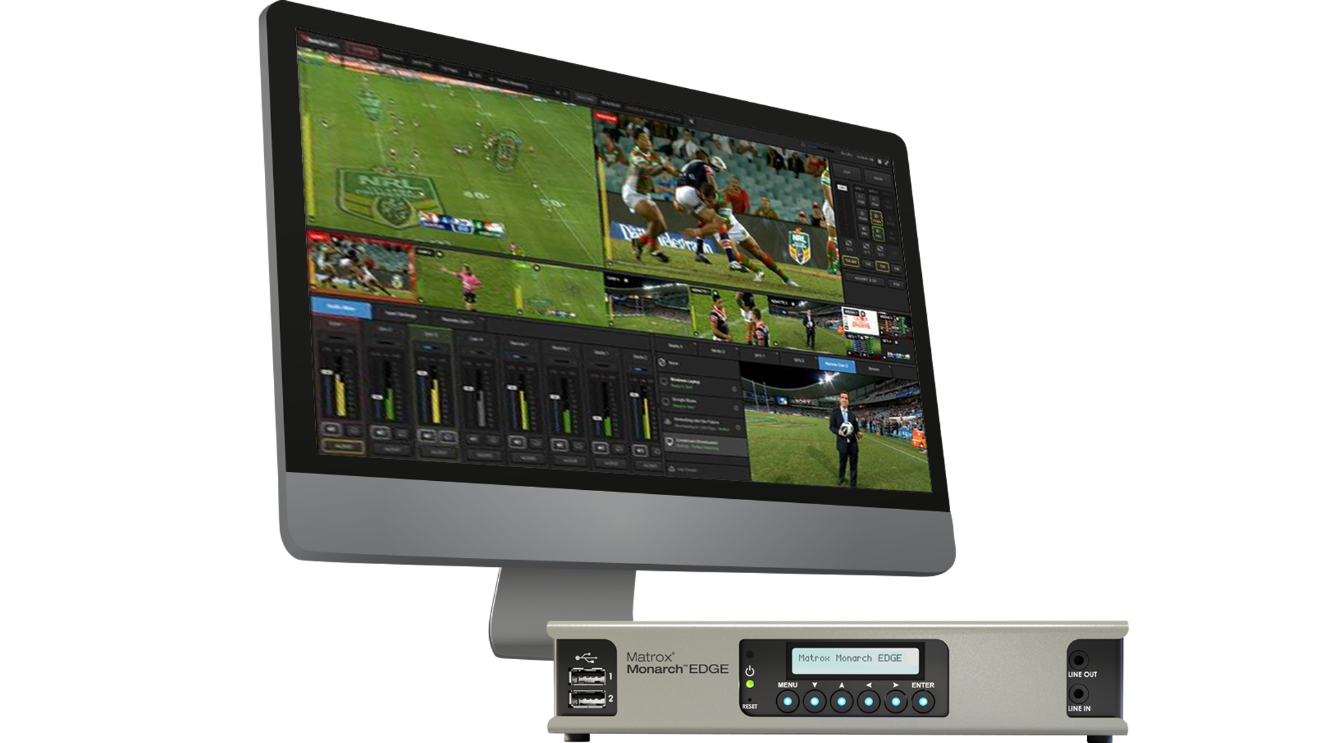 Vimeo Studio 6 Live Production Switcher Software and Matrox Monarch EDGE encoder for cloud-based, broadcast-quality multi-camera productions.