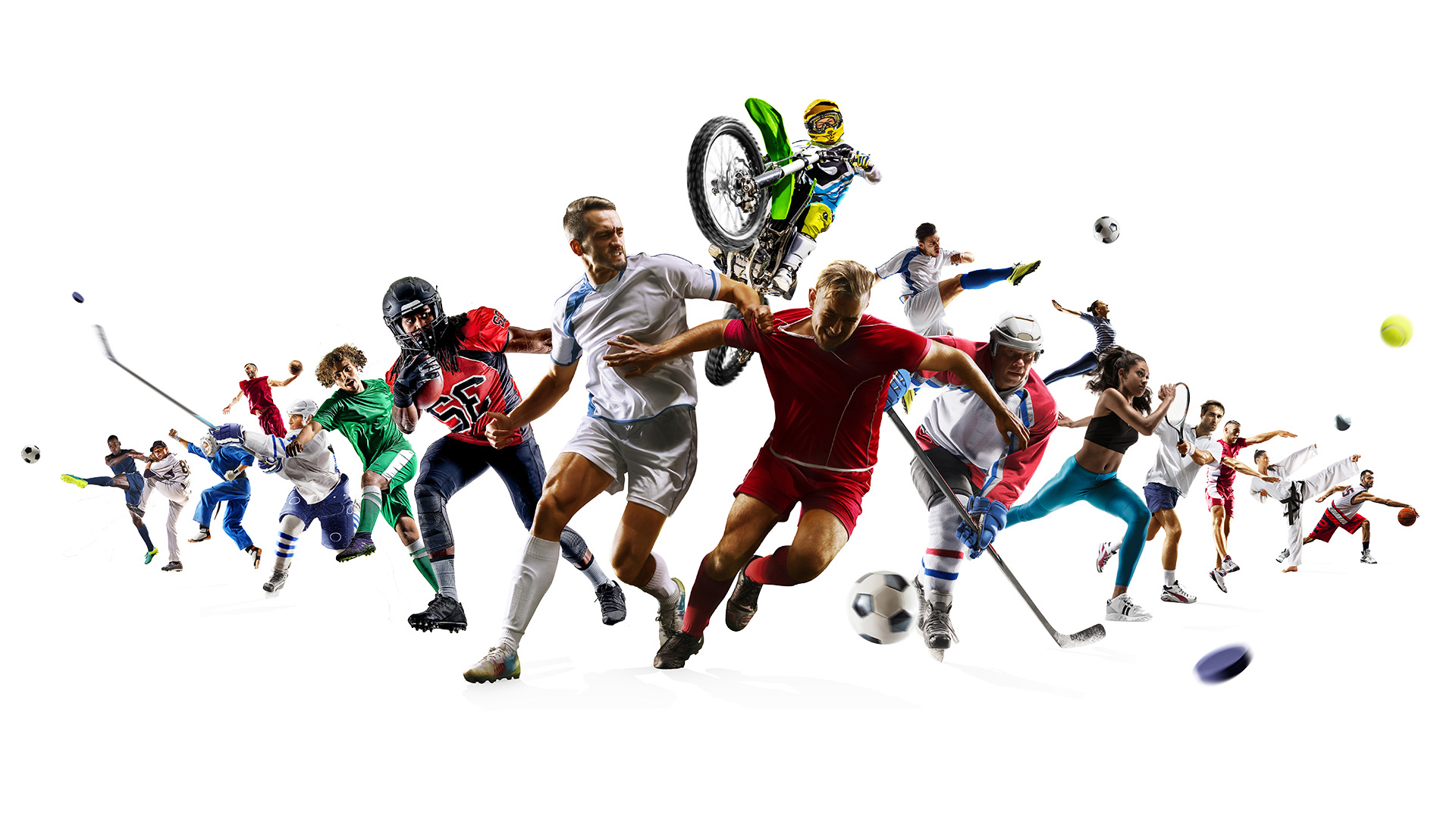 Athletes playing sports