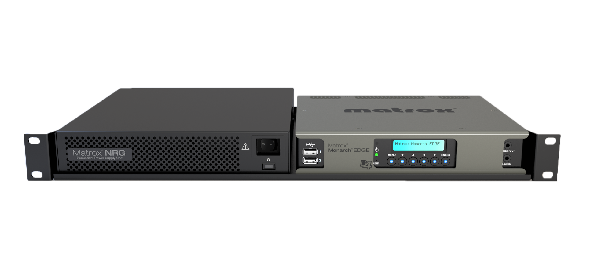 Matrox NRG and Monarch EDGE side-by-side on a rack.