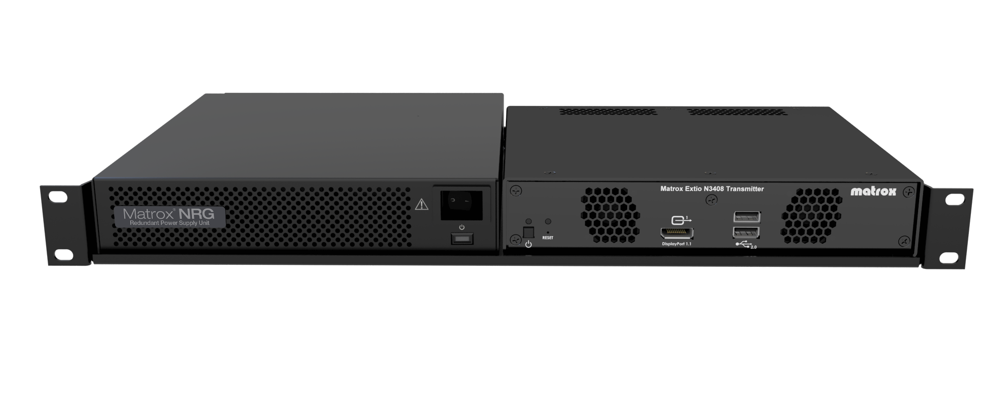 Matrox NRG and Extio 3 side-by-side on 1 rack