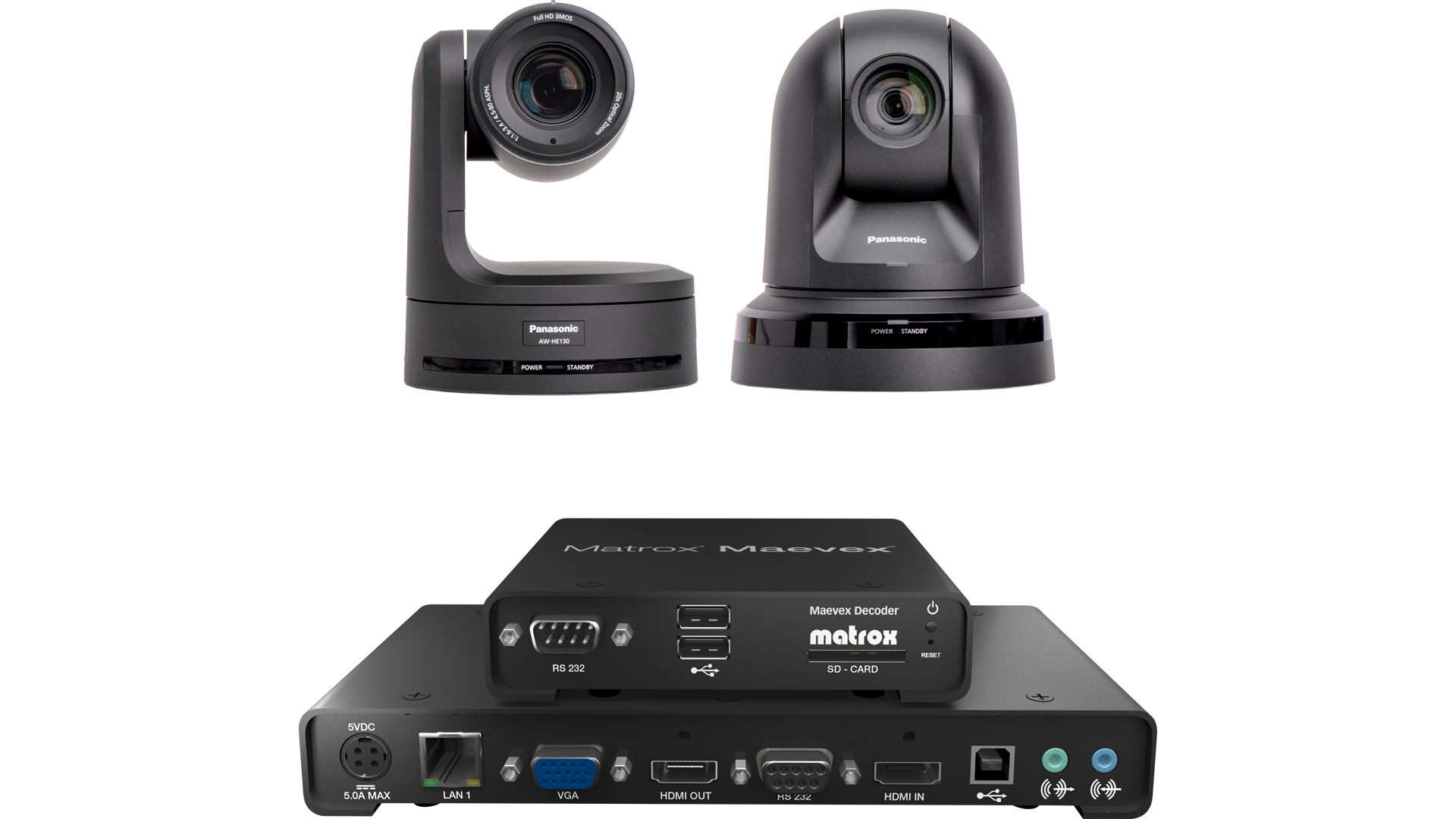 Panasonic AW-HE130 & AW-HE40 cameras stream full HD H.264 signals to Maevex decoders for review and display.