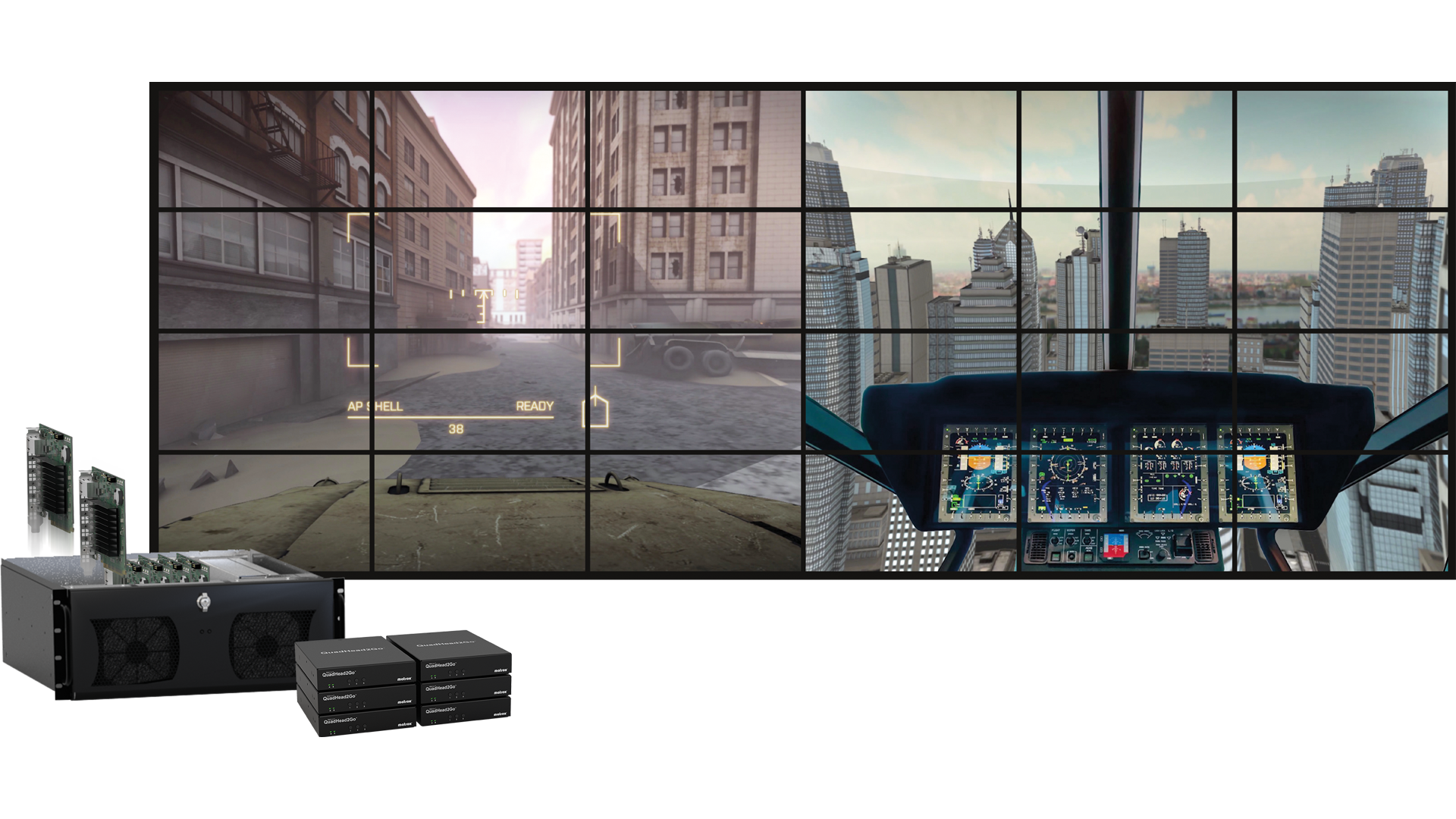Matrox Mura IPX capture and IP encode/decode and Matrox QuadHead2Go multi-monitor controllers are ideal for visualization and training applications.