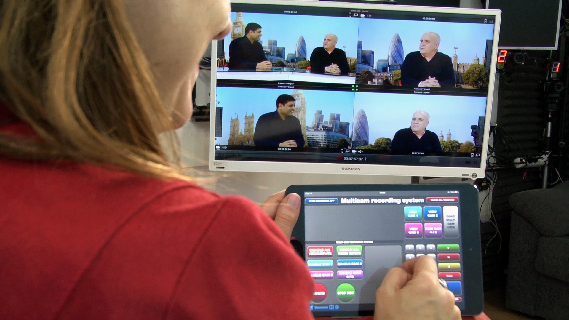 BritishEnglish.TV producers see all camera inputs using Matrox VS4Recorder Pro as a multiviewer.