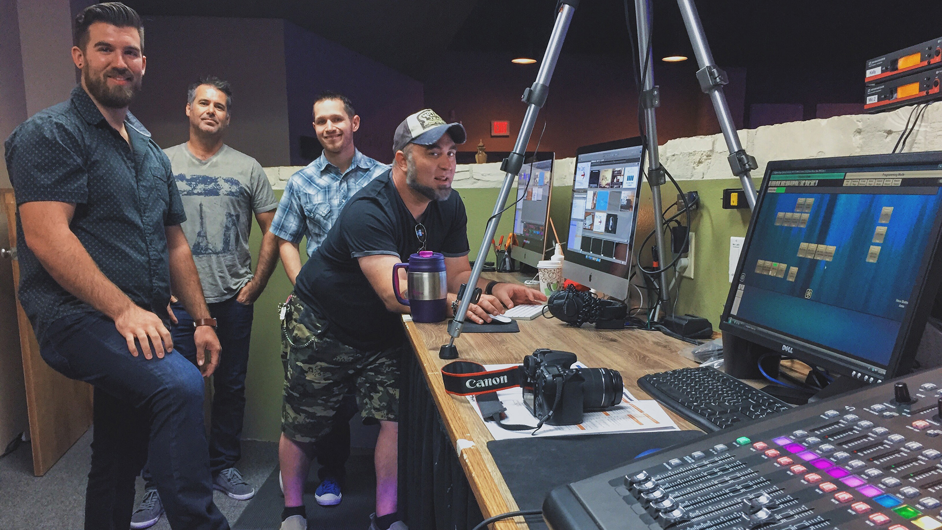 Technical team made up of volunteers operating the Lifehouse Church video management system that includes the Matrox Monarch HDX device.