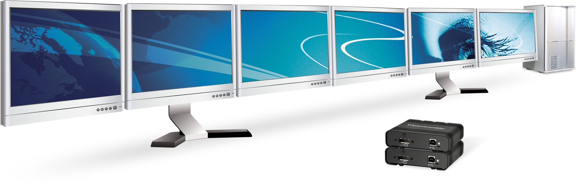 Two Matrox TripleHead2Go drive a six monitor configuration across a 6x1 stretched desktop