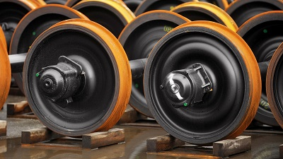 Train wheels on production line