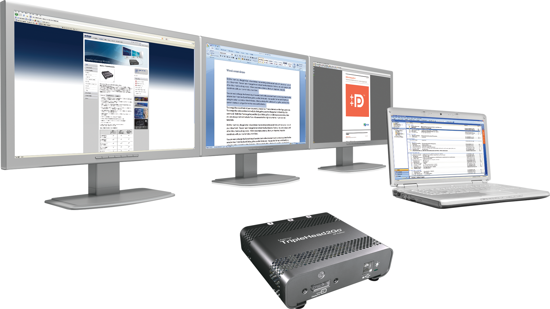 TripleHead2Go DP Edition - Increase your productivity by adding three monitors to your laptop or desktop