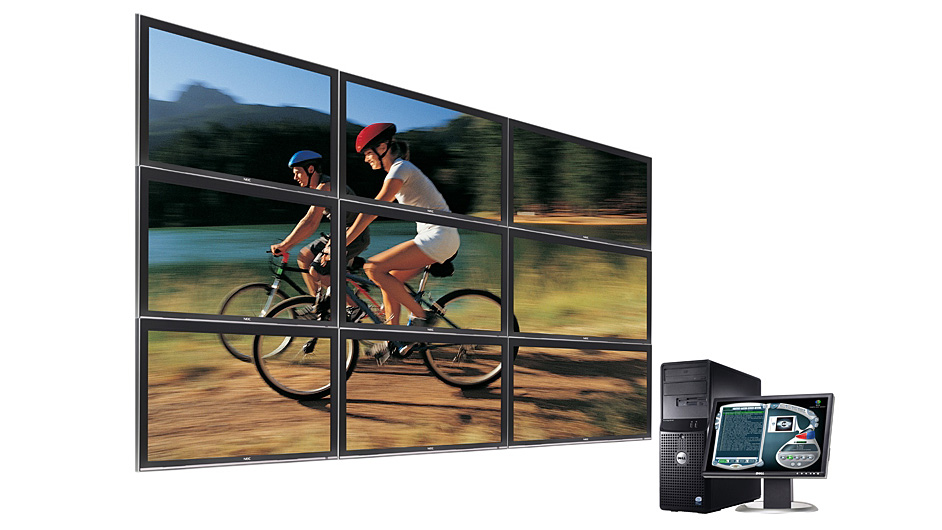 The high impact YCD MuVi Wall can use multiple Matrox graphics cards to drive up to nine screens of digital messaging content.